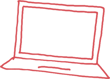 Red sketch of a laptop for on-demand HR info