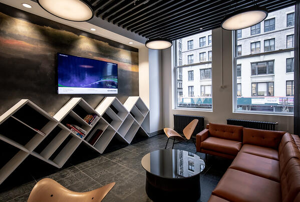 Casual meeting space within the New York City office