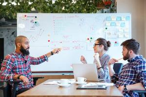 HR team analyzing data to improve HR services