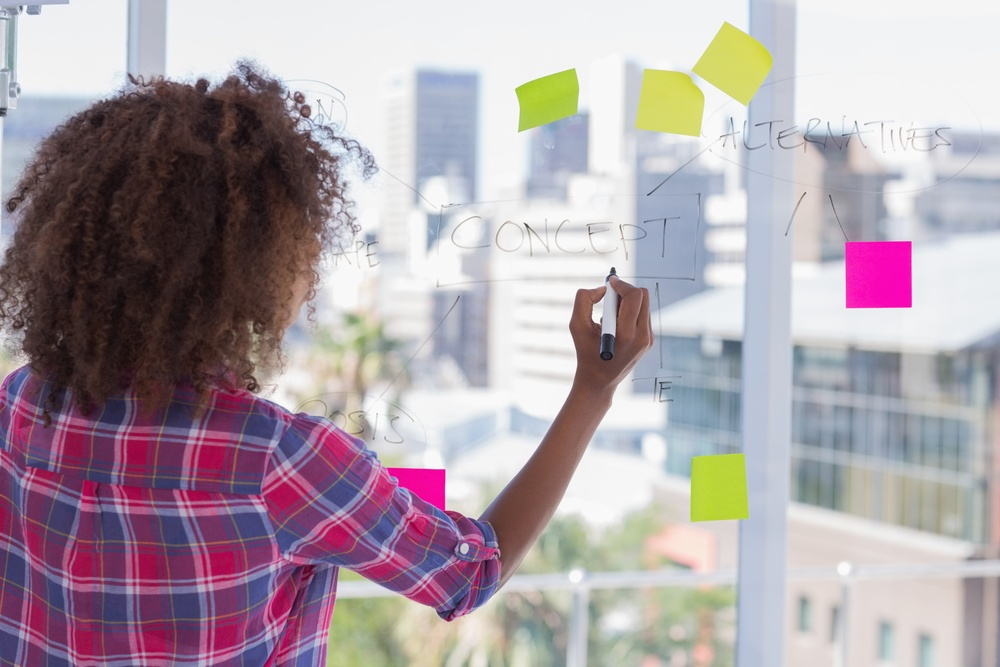 Woman drawing on flowchart with sticky notes in bright office