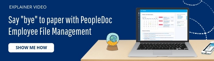 Button to watch video on peopledoc employee file management